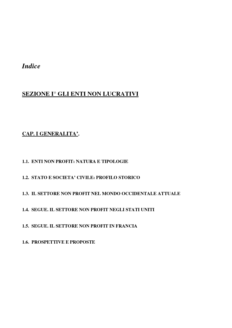 Indice della tesi: Gli enti non lucrativi, Pagina 1