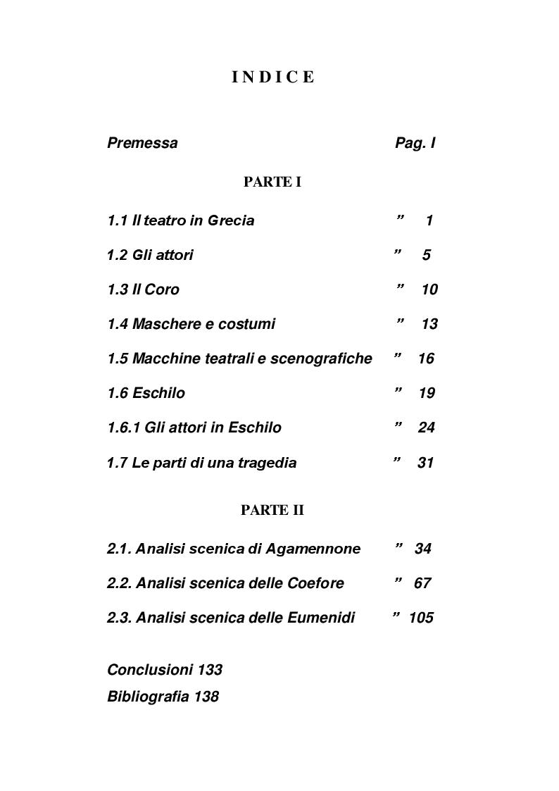 Indice della tesi: Analisi scenica dell'Orestea, Pagina 1