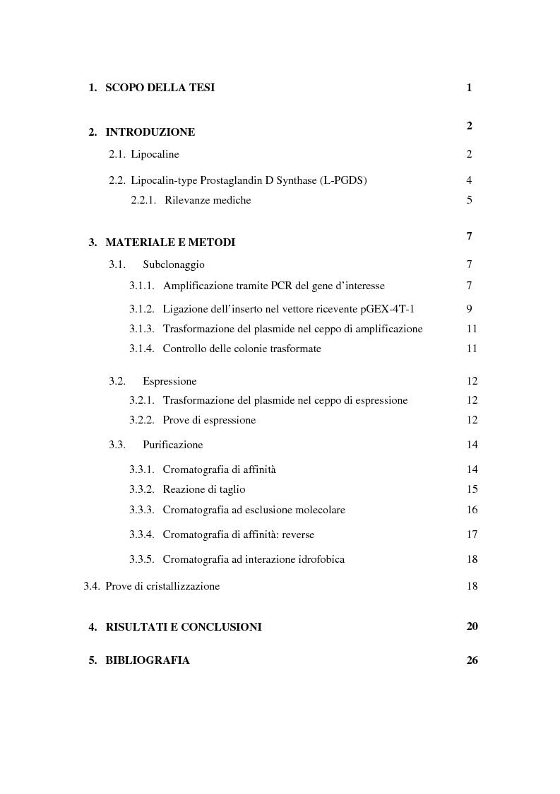 Indice della tesi: Espressione, purificazione e cristallizzazione della Human Lipocalin-type Prostaglandin D Synthase (L-PGDS) wild type, Pagina 1