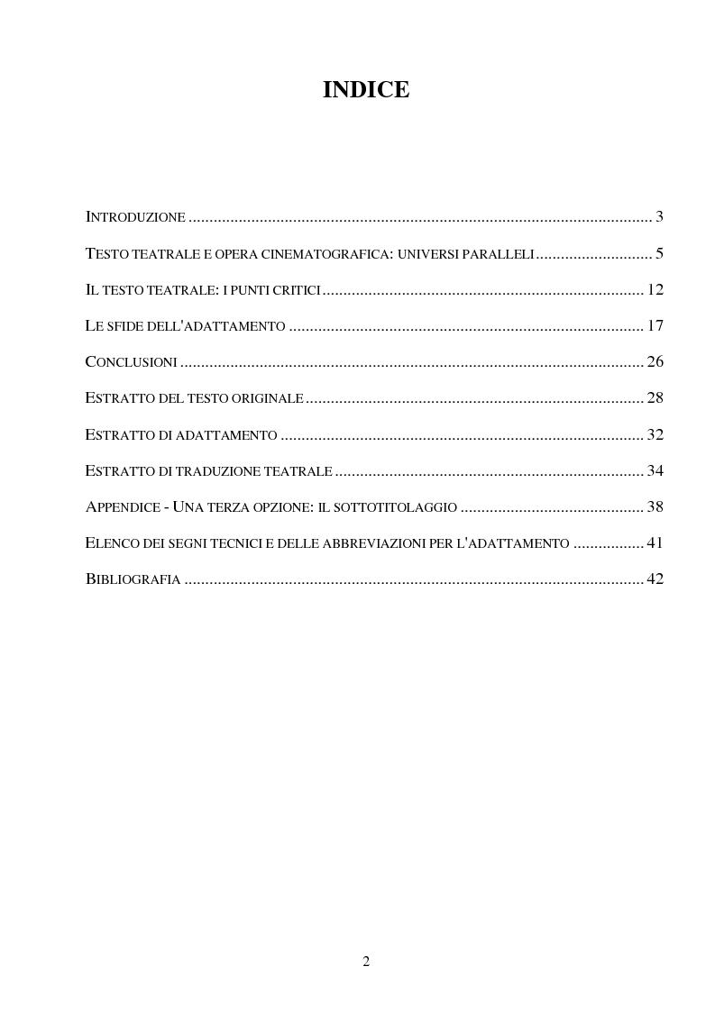 Indice della tesi: ''PLAY'' di Samuel Beckett - Una commedia a teatro, una commedia al cinema, Pagina 1