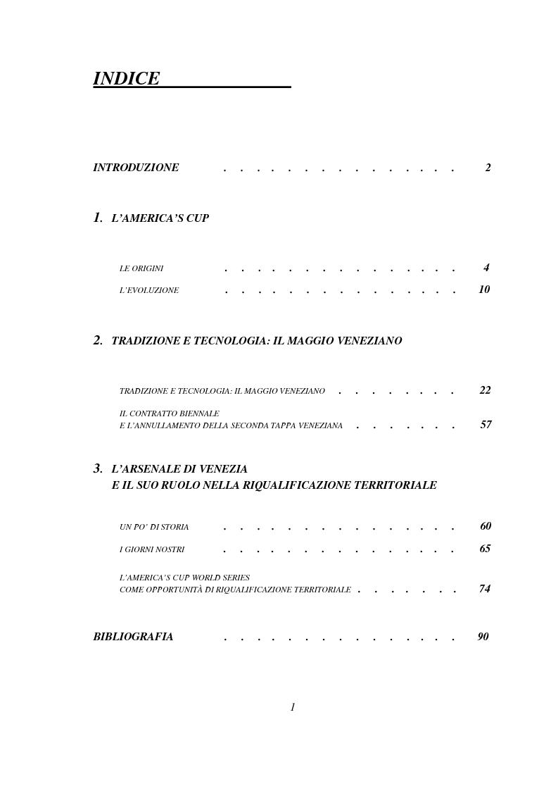 Indice della tesi: America's Cup World Series: Venezia. Organizzazione e pianificazione di un grande evento sportivo, Pagina 1