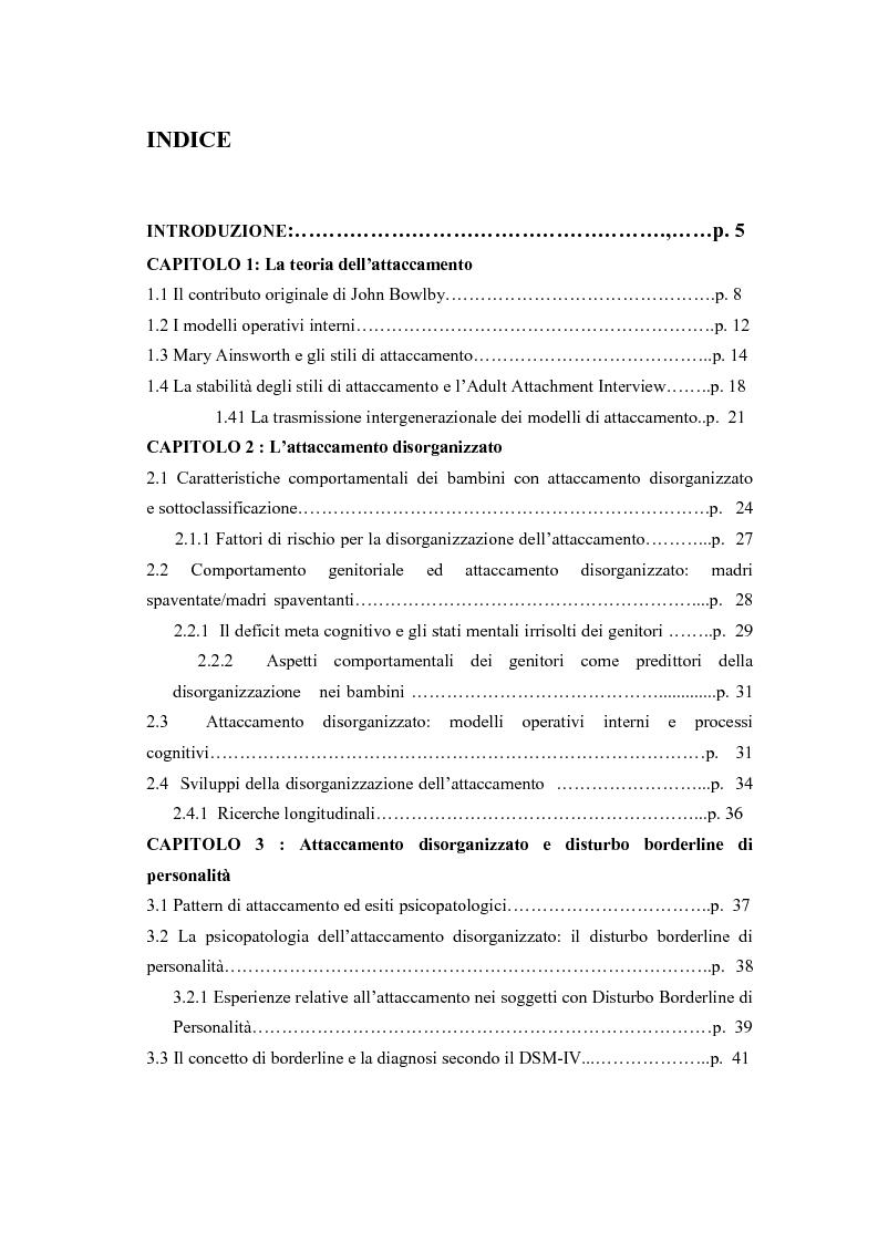 Indice della tesi: La disorganizzazione dell'attaccamento come fattore di rischio per lo sviluppo del disturbo borderline di personalità, Pagina 1
