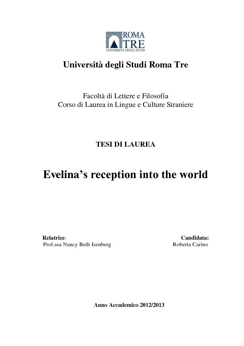 Anteprima della tesi: Evelina's Reception into the World, Pagina 1