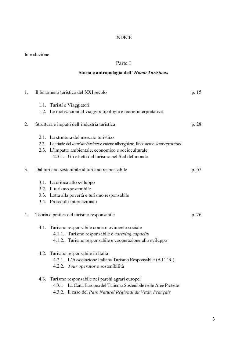 Indice della tesi: Prospettive di sviluppo del turismo responsabile nel Parco Agricolo Sud Milano, Pagina 1
