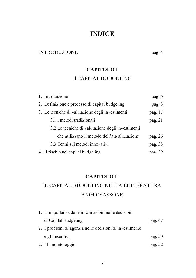 Indice della tesi: Il Capital Budgeting: analisi teorica ed esperienza empirica, Pagina 1