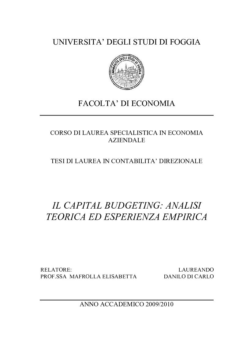 Anteprima della tesi: Il Capital Budgeting: analisi teorica ed esperienza empirica, Pagina 1