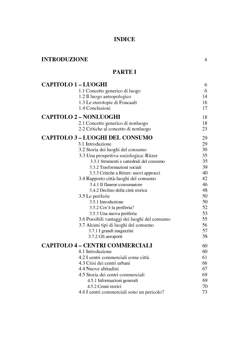 Indice della tesi: Centri commerciali e città: il caso del Forum Palermo, Pagina 1