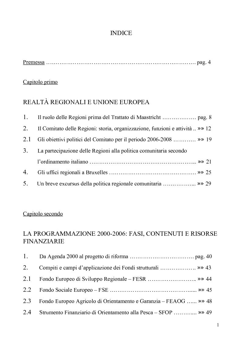 Indice della tesi: I Fondi strutturali nel quadro delle politiche dell'Unione Europea: le programmazioni 2000-2006 e 2007-2013, Pagina 1