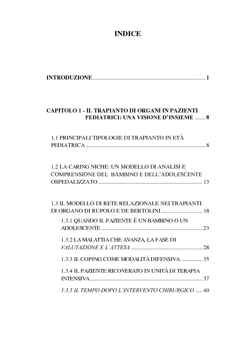 Indice della tesi: Ospitare l'intruso: l'esperienza del trapianto di organo solido in età pedatrica, Pagina 1
