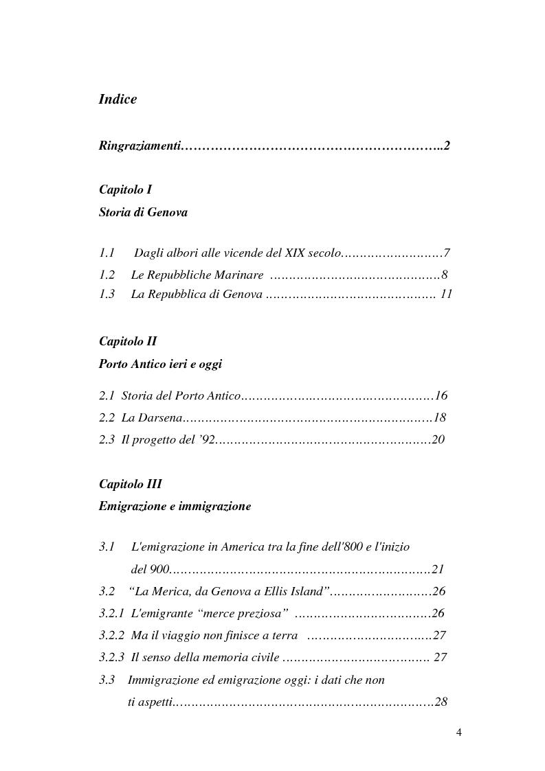 Indice della tesi: Il Porto Antico: da approdo mercantile a complesso museale, Pagina 1