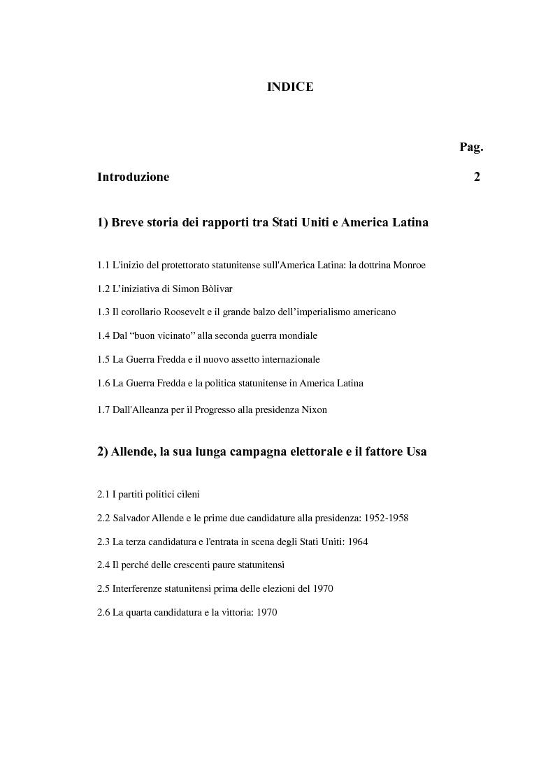 Indice della tesi: La politica estera degli Stati Uniti nei confronti dell'America Latina: il caso cileno, Pagina 1