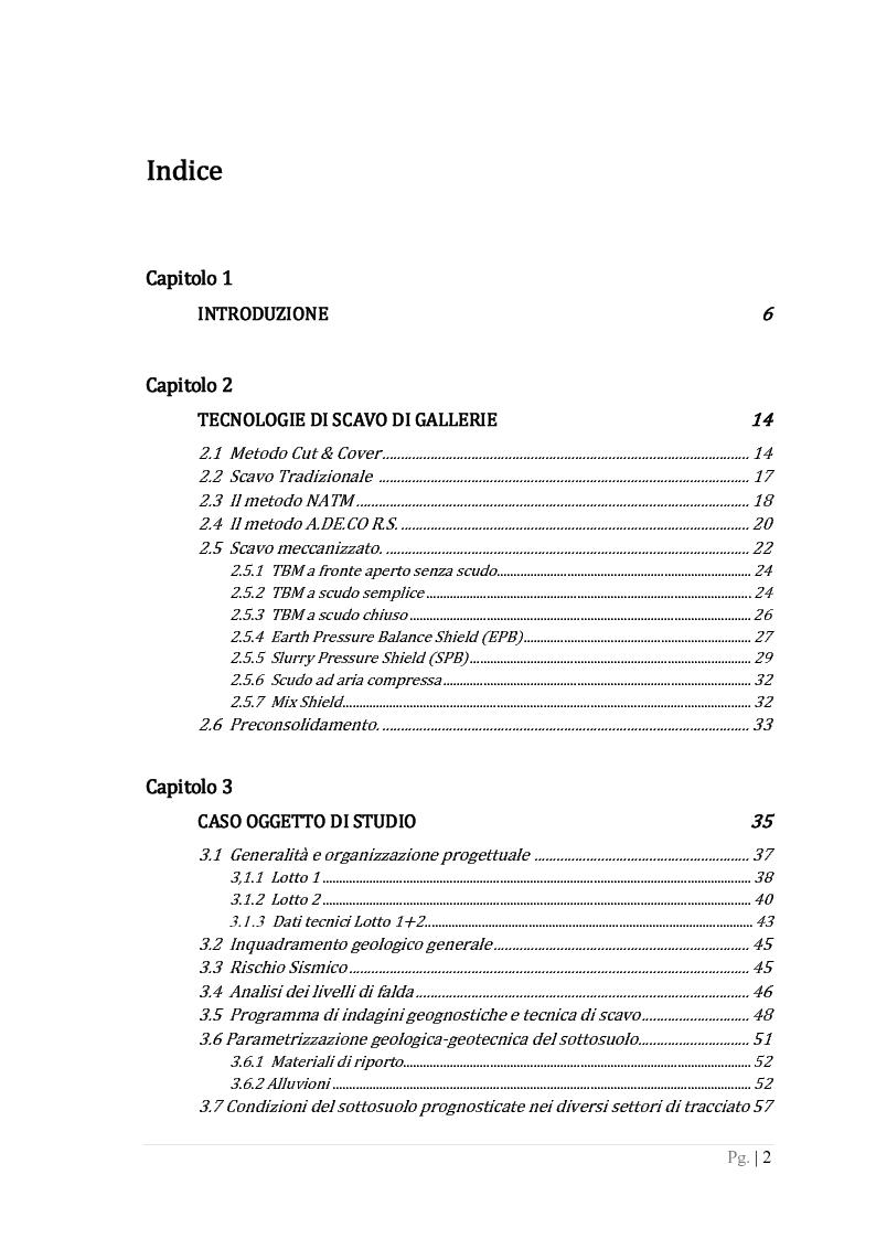 Indice della tesi: Metodi per la valutazione della stabilità del fronte in un problema di scavo di una galleria superficiale con TBM a scudo chiuso, Pagina 1