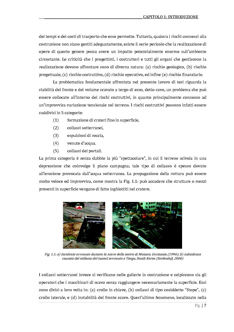 Metodi per la valutazione della stabilità del fronte in un problema di scavo di una galleria superficiale con TBM a scud...