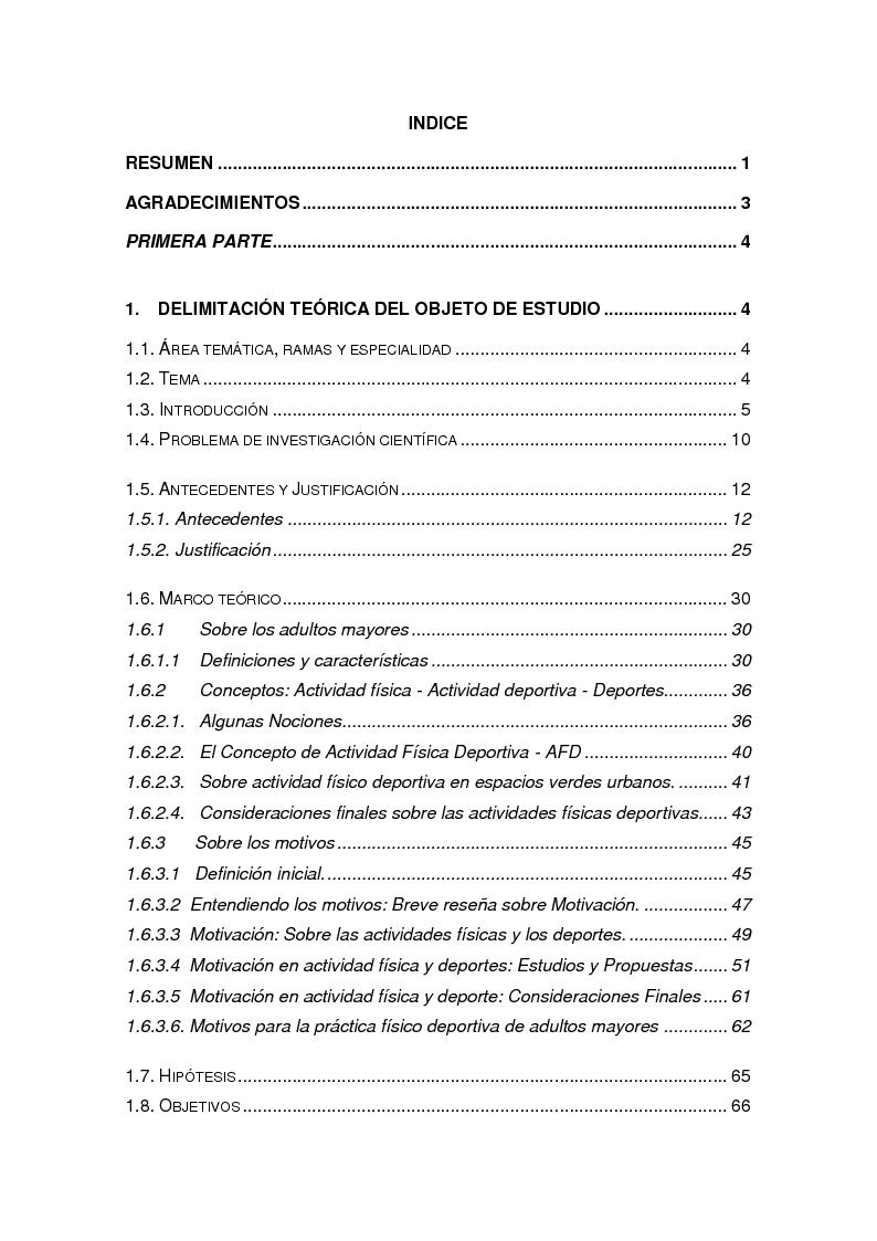 Indice della tesi: Motivos que plantean los adultos mayores para la pràctica de actividad físico deportiva en espacios verdes urbanos, Pagina 1