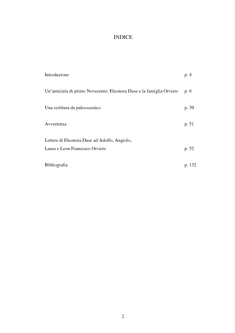 Indice della tesi: Eleonora Duse epistolografa: le lettere alla famiglia Orvieto (1901-1908), Pagina 1