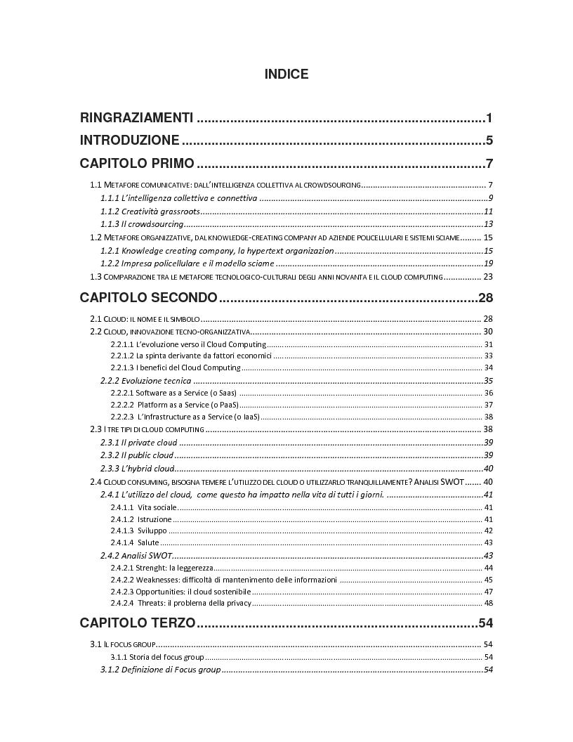 Indice della tesi: Il tempo delle nuvole: il cloud computing tra processi organizzativi e dimensione consumer, Pagina 1