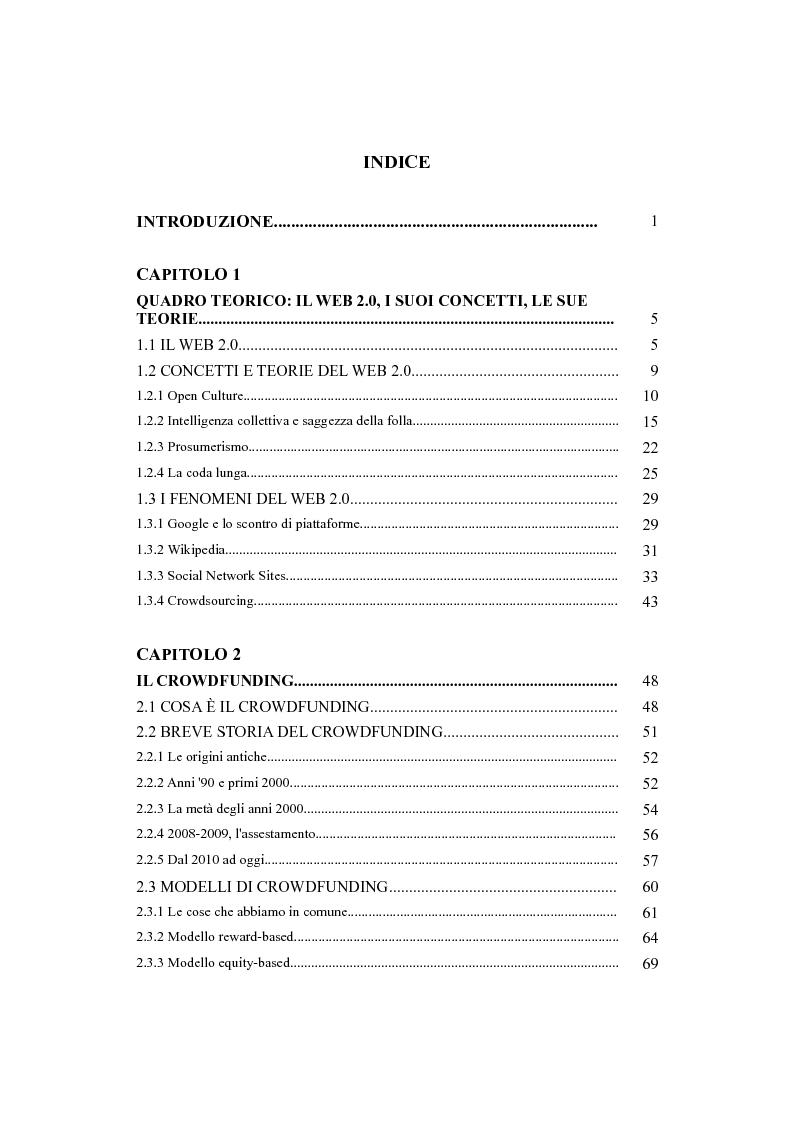 Indice della tesi: Indagine sulle problematiche e le prospettive di sviluppo del crowdfunding come strumento di finanziamento per il commercio equo e solidale, Pagina 1