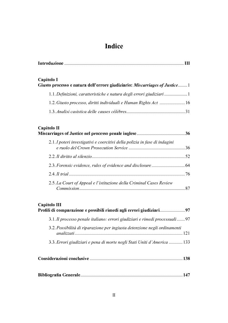 Indice della tesi: Miscarriages of justice: profili di comparazione e possibili rimedi agli errori giudiziari in materia penale nei sistemi processuali italiano e inglese, Pagina 1