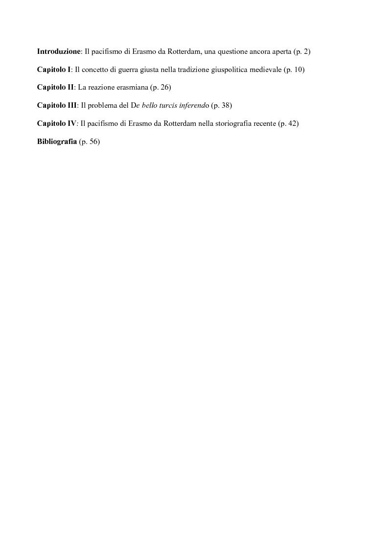 """Indice della tesi: L'irenismo erasmiano e la crisi del concetto di """"guerra giusta"""", Pagina 1"""