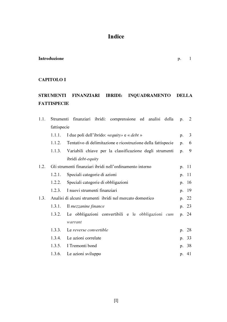 Indice della tesi: Gli strumenti finanziari ibridi nel diritto tributario nazionale, internazionale e comunitario, Pagina 1