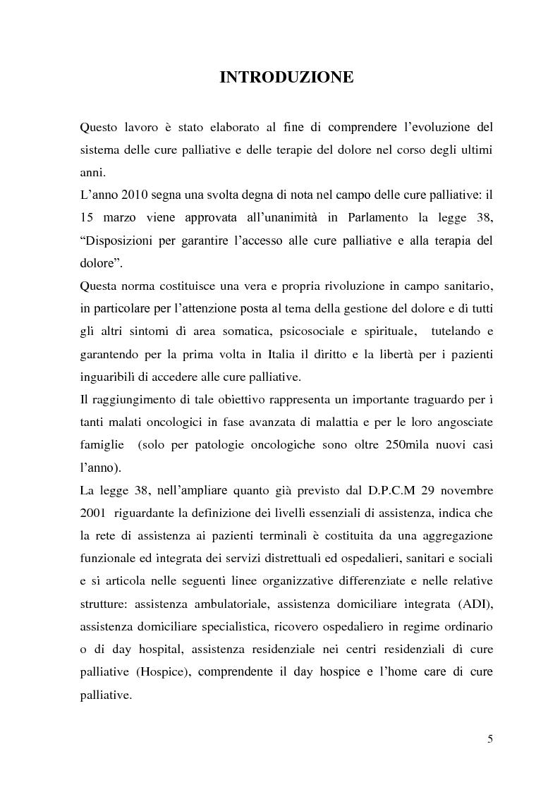 Direzione Manageriale di un Hospice ed applicazione della legge 38/2010. La rete per le cure palliative. Modello applica...
