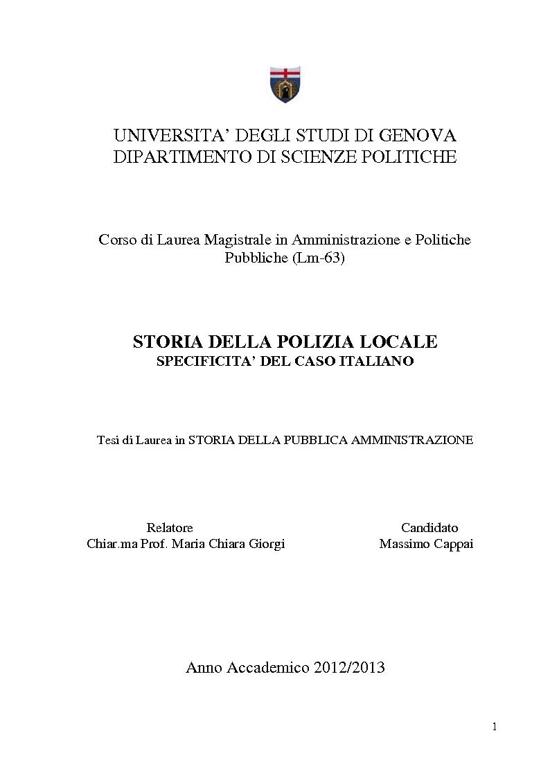 Anteprima della tesi: Storia della polizia locale. Specificità del caso italiano, Pagina 1