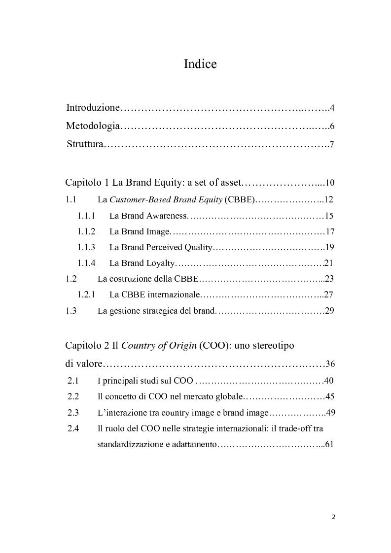 Indice della tesi: Il country of origin nel processo di internazionalizzazione del brand. Il caso Mutti S.p.A, Pagina 1