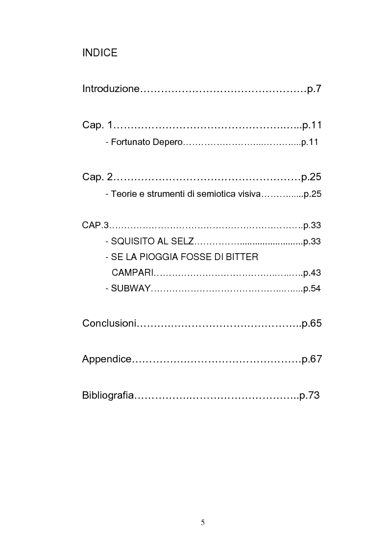 Indice della tesi: Audacia di esser pazzi. Analisi semiotica dell'opera di Fortunato Depero, Pagina 1