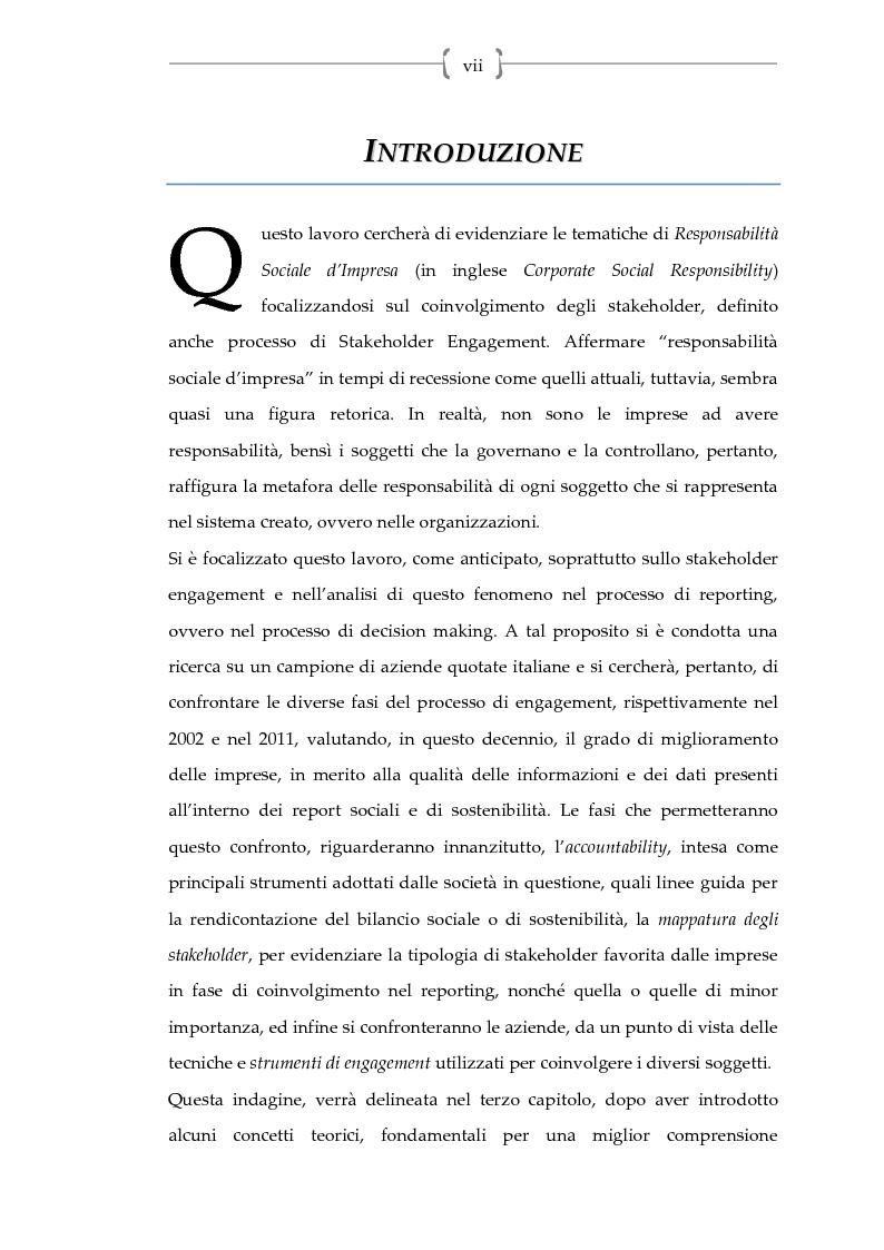 La responsabilit� sociale: dall'accountability al coinvolgimento degli stakeholder nel social reporting - Tesi di Laurea