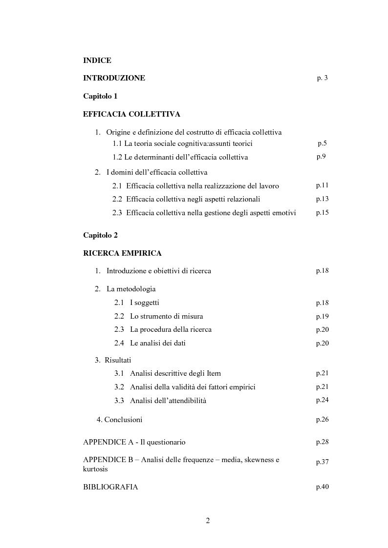 Indice della tesi: La misura dell'efficacia collettiva: un contributo empirico, Pagina 1