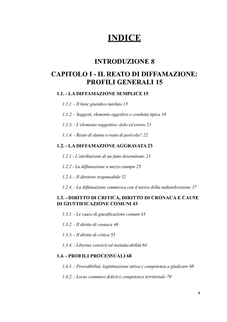 Indice della tesi: Il reato di diffamazione e i nuovi mezzi di comunicazione: profili legislativi ed evoluzione giurisprudenziale, Pagina 1