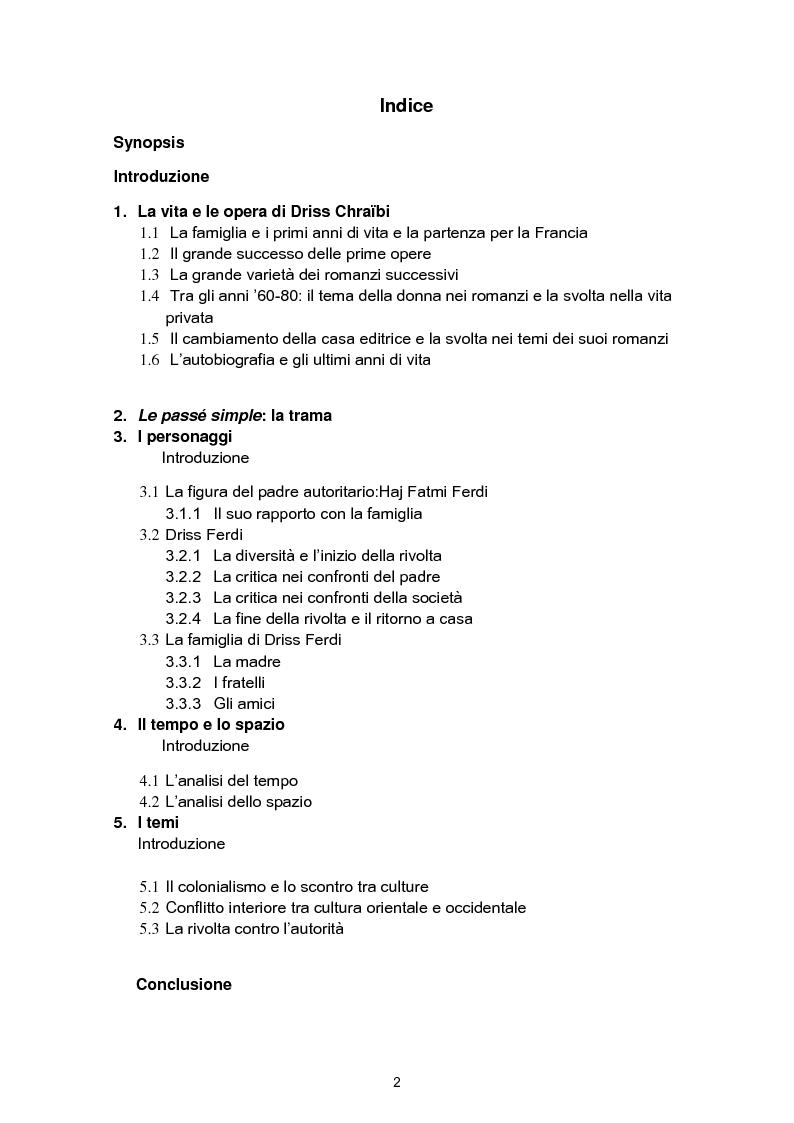 Indice della tesi: Strutture formali e strutture tematiche nel ''Passé simple'' di Driss Chraibi, Pagina 1