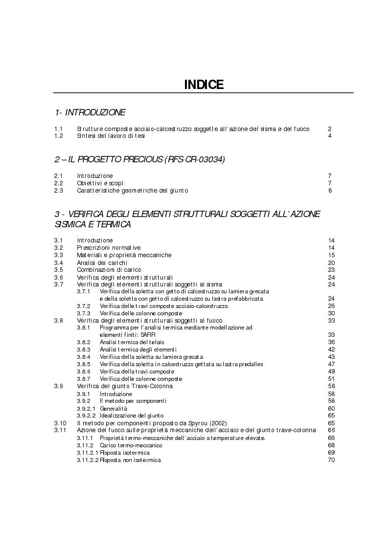 Indice della tesi: Analisi numerico-sperimentale del comportamento al sisma e al fuoco di giunti composti acciaio-calcestruzzo, a parziale ripristino di resistenza flessionale, Pagina 1