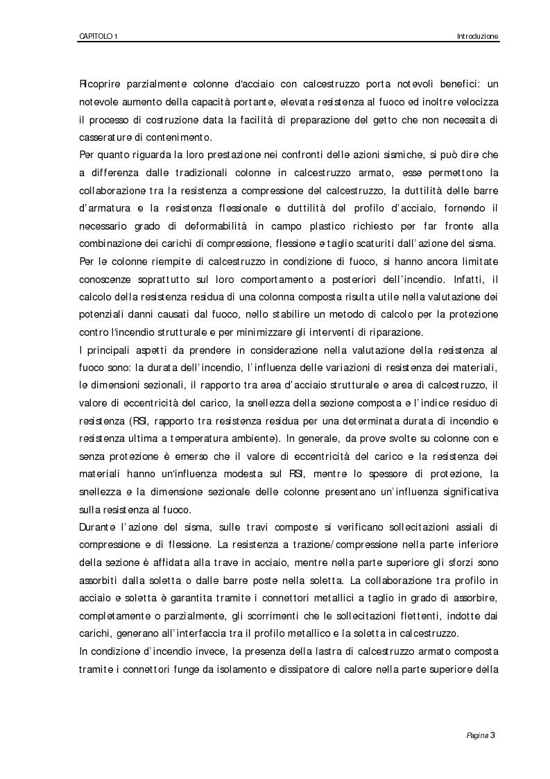 Anteprima della tesi: Analisi numerico-sperimentale del comportamento al sisma e al fuoco di giunti composti acciaio-calcestruzzo, a parziale ripristino di resistenza flessionale, Pagina 3