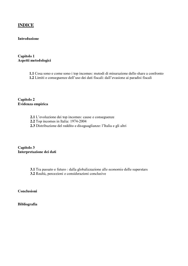 Indice della tesi: Distribuzione personale del reddito e Top Incomes, Pagina 1