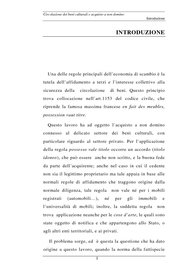 Circolazione dei beni culturali e acquisto a non domino - Tesi di Laurea