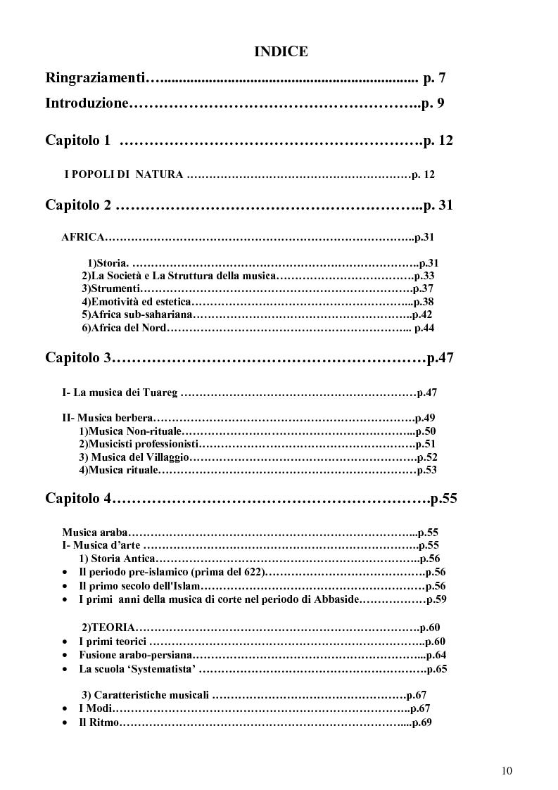 Indice della tesi: Le Contaminazioni musicali e culturali del Nord Africa (Numidia), Pagina 1