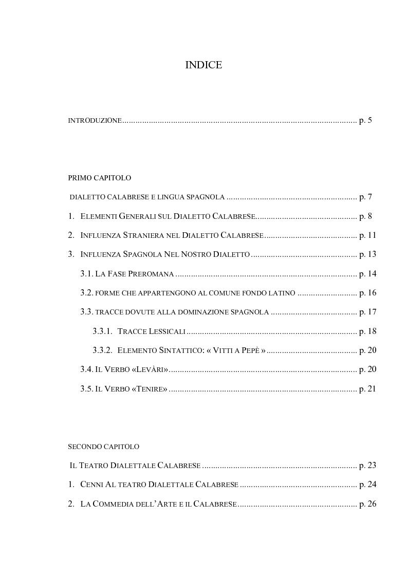 Indice della tesi: L'elemento linguistico spagnolo nel teatro dialettale calabrese, Pagina 1