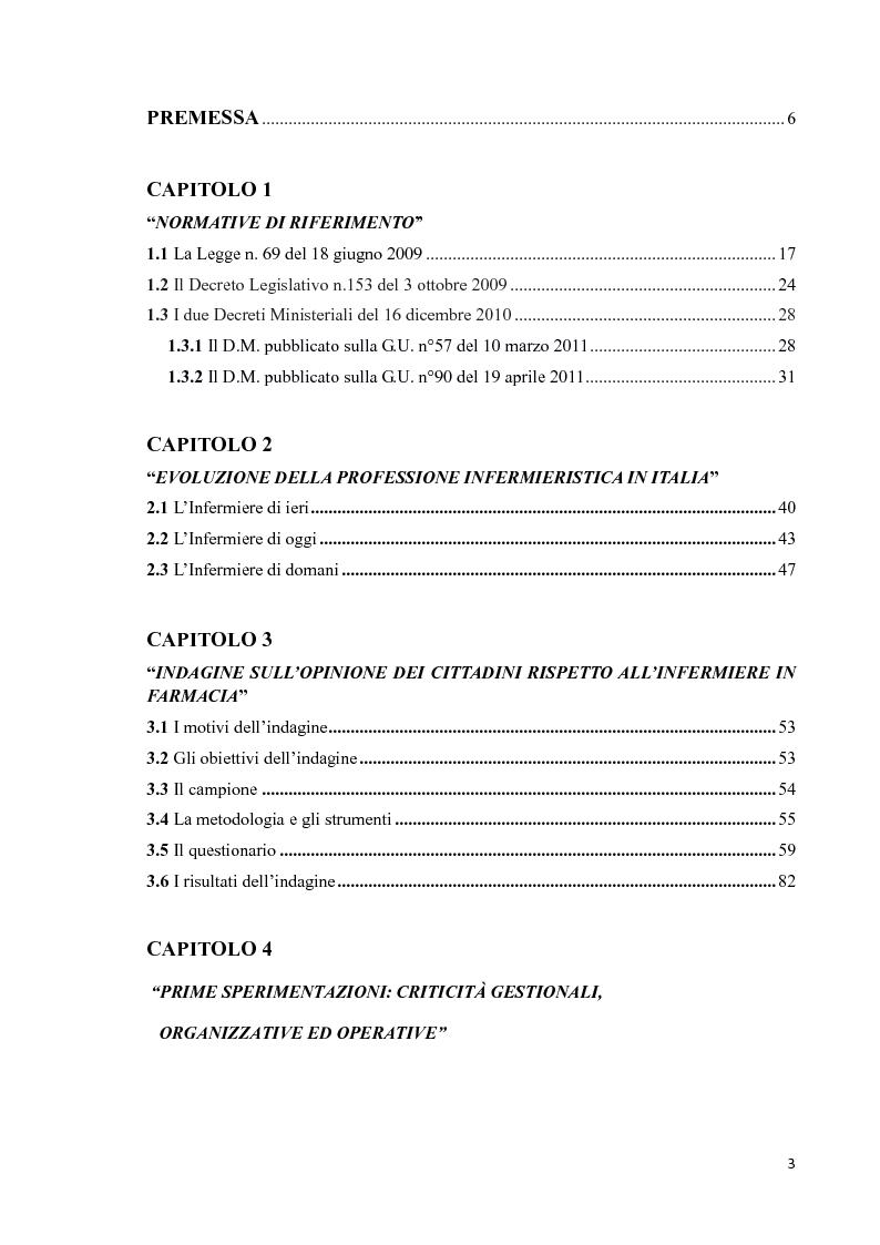 Indice della tesi: L'infermiere in farmacia: un'opportunità per i cittadini, per le istituzioni e per i professionisti, Pagina 1