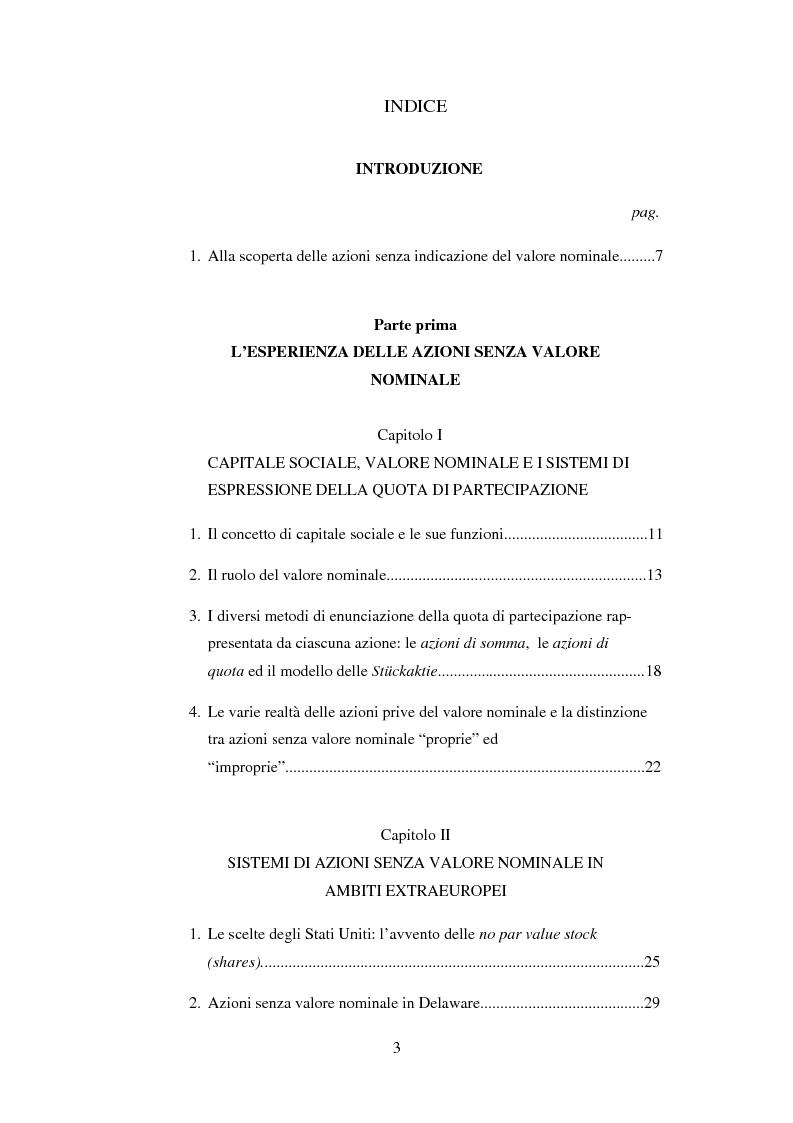 Indice della tesi: Le azioni senza l'indicazione del valore nominale, Pagina 1