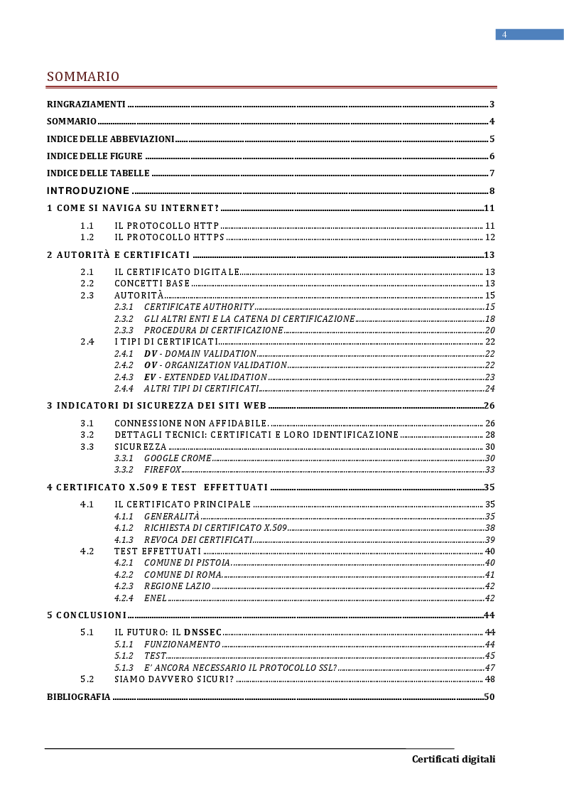 Indice della tesi: I certificati digitali, Pagina 1