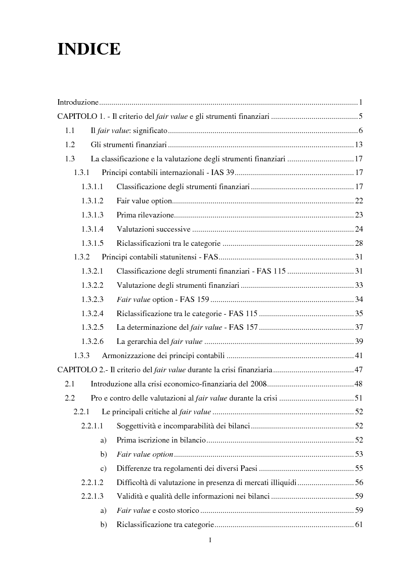 Indice della tesi: Il ruolo del fair value nella crisi finanziaria, Pagina 1