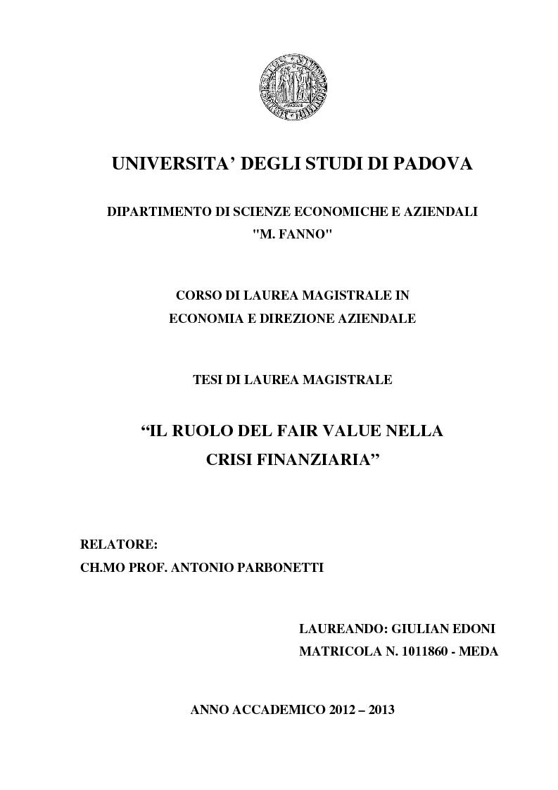 Anteprima della tesi: Il ruolo del fair value nella crisi finanziaria, Pagina 1