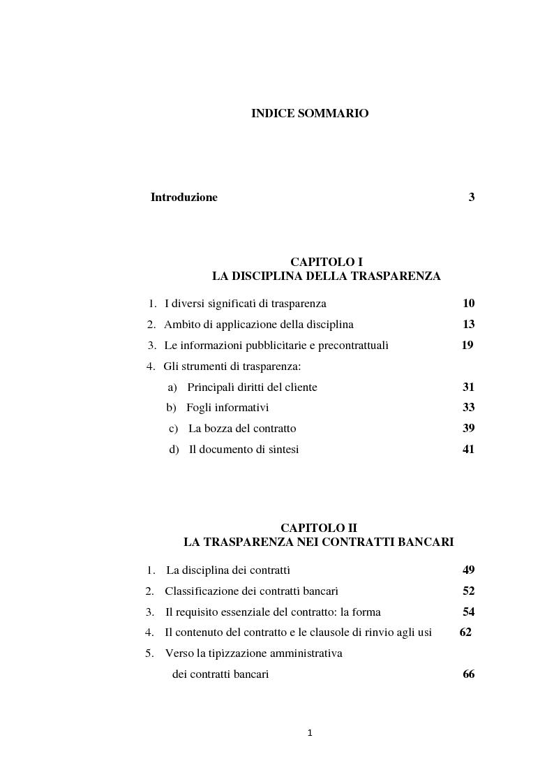 Indice della tesi: La trasparenza nel Testo Unico Bancario: profili contrattuali, Pagina 1