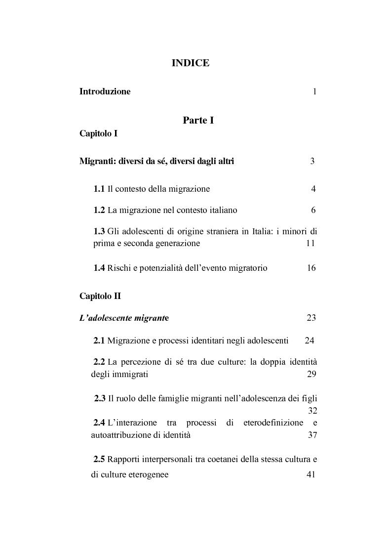 Indice della tesi: Il processo di formazione dell'identità in adolescenza: uno studio tra culture diverse, Pagina 1
