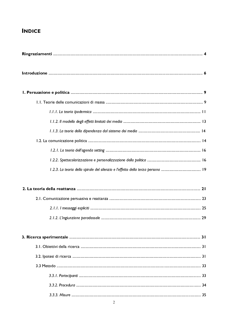 Indice della tesi: Comunicazione politica, persuasione e reattanza: l'effetto del claim nei manifesti elettorali, Pagina 1