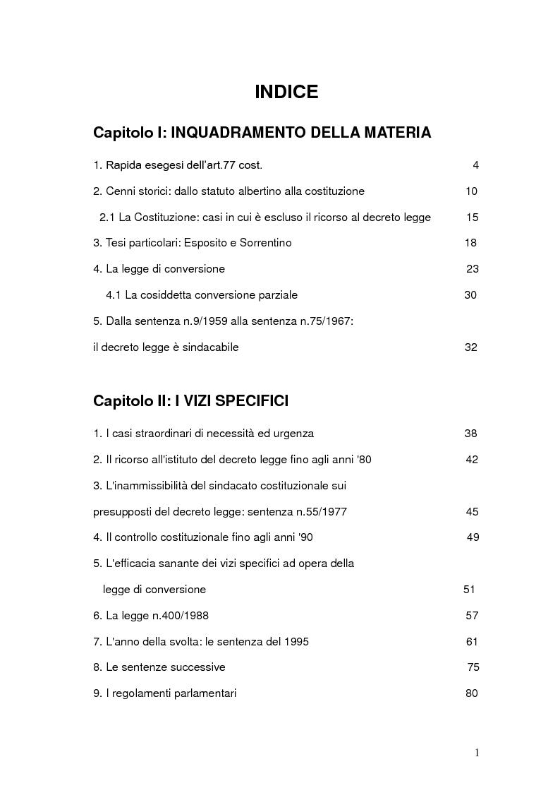 Indice della tesi: Decreti Legge: analisi delle principali sentenze della Corte Costituzionale, Pagina 1