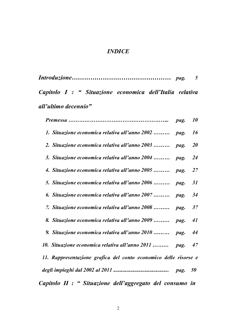 Indice della tesi: Il consumo in Italia e nella Grande Distribuzione Organizzata, Pagina 1