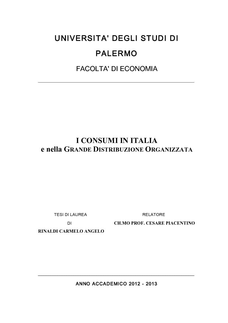 Anteprima della tesi: Il consumo in Italia e nella Grande Distribuzione Organizzata, Pagina 1