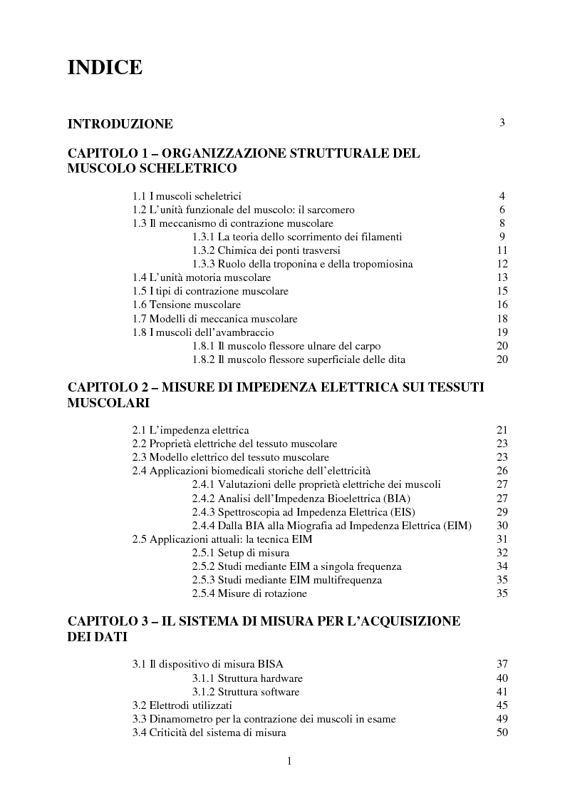 Indice della tesi: Caratterizzazione dei tessuti muscolari tramite misure di Spettroscopia ad Impedenza Elettrica, Pagina 1